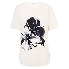 Buy Whistles Floral Placement T-Shirt, Ivory Online at johnlewis.com