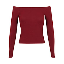 Buy Miss Selfridge Rib Bardot Top, Burgundy Online at johnlewis.com