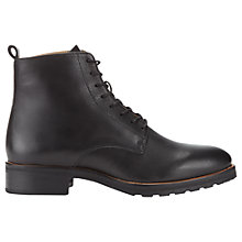 Buy Whistles Prim Leather Lace Up Ankle Boots, Black Online at johnlewis.com
