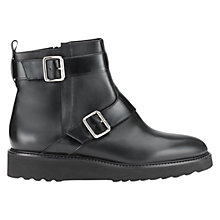 Buy Whistles Aira Leather Monk Boots, Black Online at johnlewis.com