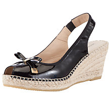 Buy John Lewis Cruise Patent Espadrille Sandals, Black Online at johnlewis.com