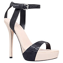 Buy Carvela Gown Snake Embossed Leather Sandals, Black Online at johnlewis.com