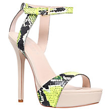 Buy Carvela Gown Snake Embossed Leather Sandals, Yellow Online at johnlewis.com
