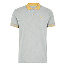 Buy HYMN Fowey Contrast Collar Polo Top, Grey/Mustard Online at johnlewis.com