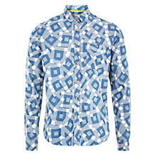 Buy HYMN Dunbar Square Print Shirt, Denim Blue Online at johnlewis.com