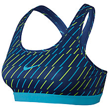 Buy Nike Pro Classic Stripe Sports Bra, Blue/Green Online at johnlewis.com