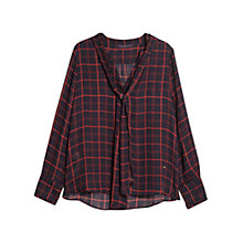 Buy Violeta by Mango Bow Check Blouse, Navy Online at johnlewis.com