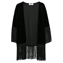 Buy Mango Fringed Velvet Kimono, Black Online at johnlewis.com