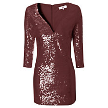 Buy True Decadence Long Sleeve Sequin Dress, Burgundy Online at johnlewis.com