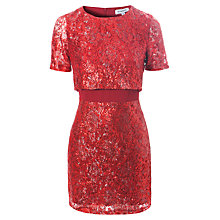Buy True Decadence Sequin Lace Illusion Dress, Red Online at johnlewis.com