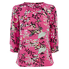 Buy Oasis Bird Print Pleat Collar Top, Pink/Multi Online at johnlewis.com