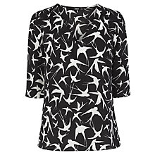 Buy Oasis Shadow Bird Tabby Top, Black/Multi Online at johnlewis.com
