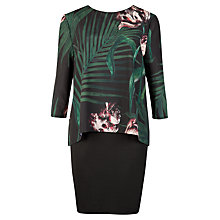 Buy Ted Baker Danetta Palm Floral Layered Tunic Dress, Black Online at johnlewis.com