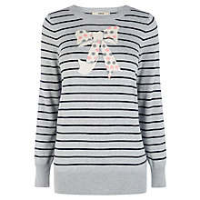 Buy Oasis Bow Stripe Intarsia Jumper, Mid Grey Online at johnlewis.com