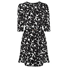 Buy Oasis Border Bird Tegan Dress, Black/White Online at johnlewis.com