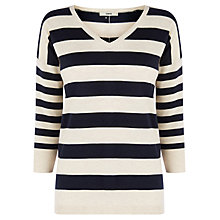 Buy Oasis Stripe V-Neck Jumper, Multi Online at johnlewis.com