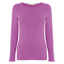 Buy Oasis Long Sleeved Clean Crew Neck Top, Mid Pink Online at johnlewis.com