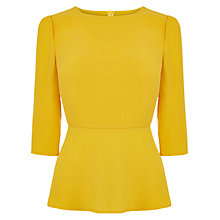 Buy Oasis Plain Long Sleeve Peplum Top, Ochre Online at johnlewis.com