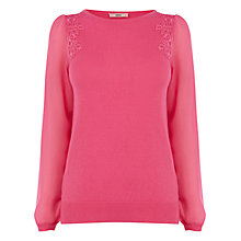 Buy Oasis Sheer Sleeve Lace Top Online at johnlewis.com
