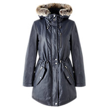 Buy Jigsaw Faux Fur Hood Waxed Parka, Navy Online at johnlewis.com