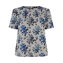 Buy Oasis Primrose Print Top, Multi Grey Online at johnlewis.com
