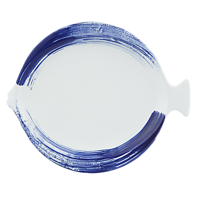 John Lewis Nordic Brush Stroke Fish Platter, Blue/White
