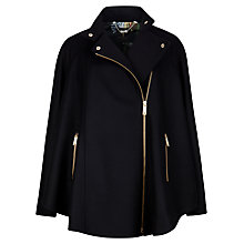 Buy Ted Baker Zip Front Cape, Black Online at johnlewis.com
