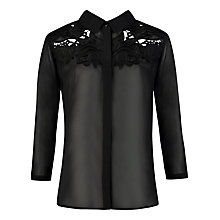 Buy Ted Baker Nelley Sheer Embroidered Lace Shirt, Black Online at johnlewis.com