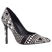 Buy KG by Kurt Geiger Barley Toe Pointed Court Shoes, Black/White Pony Online at johnlewis.com