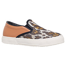 Buy Kurt Geiger London Animal Print Slip On Plimsolls, Silver Online at johnlewis.com