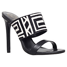 Buy KG by Kurt Geiger Hula Stiletto High Heeled Sandals, Black/White Pony Online at johnlewis.com