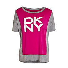 Buy DKNY Short Sleeve Logo Top, Grey / Pink Online at johnlewis.com