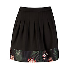 Buy Ted Baker Palm Flora Panel Skirt, Black Online at johnlewis.com