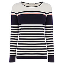 Buy Oasis Border Stripe Crew Neck Jumper, Multi Blue Online at johnlewis.com