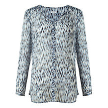 Buy Jigsaw Blurred Feather Silk Blouse, Green Online at johnlewis.com