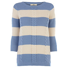Buy Oasis Cotton Waffle Stripe Jumper, Multi Blue Online at johnlewis.com