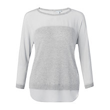 Buy Jigsaw Shirt Tail Sweater, Melange Grey Online at johnlewis.com