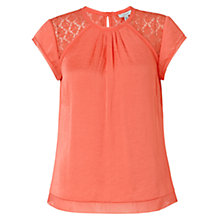 Buy Jigsaw Crocus Drape Top, Geranium Online at johnlewis.com