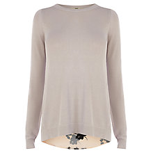 Buy Oasis Shadow Floral Woven Tails Jumper, Grey Online at johnlewis.com
