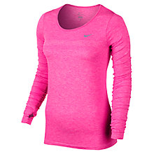 Buy Nike Dri-FIT Knit Long Sleeve Running Top, Pink Online at johnlewis.com