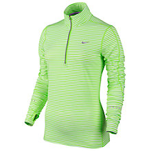 Buy Nike Element Striped Half-Zip Running Top, Green/Silver Online at johnlewis.com