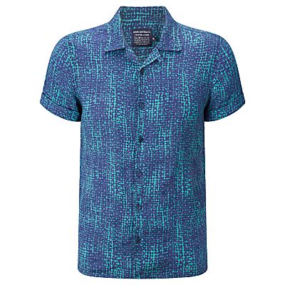 JOHN LEWIS  Co. Butterfly Linen Bowling Shirt Teal £20.00 AT vintagedancer.com
