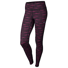Buy Nike Printed Dri-FIT Epic Run Tights, Pink/Black Online at johnlewis.com