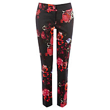 Buy Warehouse Poppy Print Trousers, Black Multi Online at johnlewis.com
