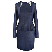 Buy Paisie Sparkle Jersey Peplum Dress, Midnight Blue/Silver Online at johnlewis.com
