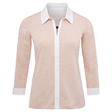 Buy Viyella Woven Trim Jersey Top, Shell Pink Online at johnlewis.com