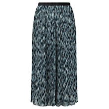 Buy Jigsaw Blurred Feather Pleat Skirt, Green Online at johnlewis.com