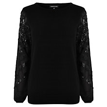 Buy Warehouse Sequin Sleeve Jumper, Black Online at johnlewis.com