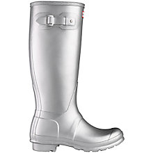 Buy Hunter Original Metal Wellington Boots, Metallic Silver Online at johnlewis.com