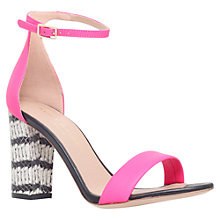 Buy Kurt Geiger Isabella Block Heel Leather Sandals, Fuschia Online at johnlewis.com